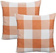 VAKADO Orange and White Decorative Plaids Throw Pillow Covers Fall Thanksgiving Farmhouse Retro Check Checkers Cotton Linen Rustic Cushion Cases for Sofa Bedroom Car Outdoor 18x18 Inch Pack of 2