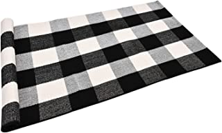 Area Rug Black White and Gray Classic Plaid Runner Rugs Hand Woven Stain Resistant Collection Area Rug Indoor Outdoor Floor Mat for Kitchen Entryway Laundry Bedroom Bathroom Sitting Room Carpet