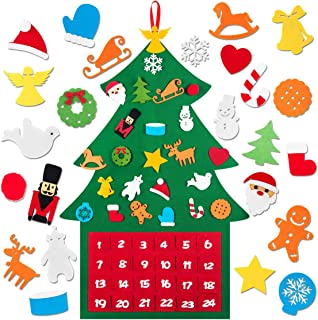Kyrieval Felt Christmas Tree Advent Calendar DIY Xmas 24 Days Countdown Decorations Wall Door Hanging for Kids