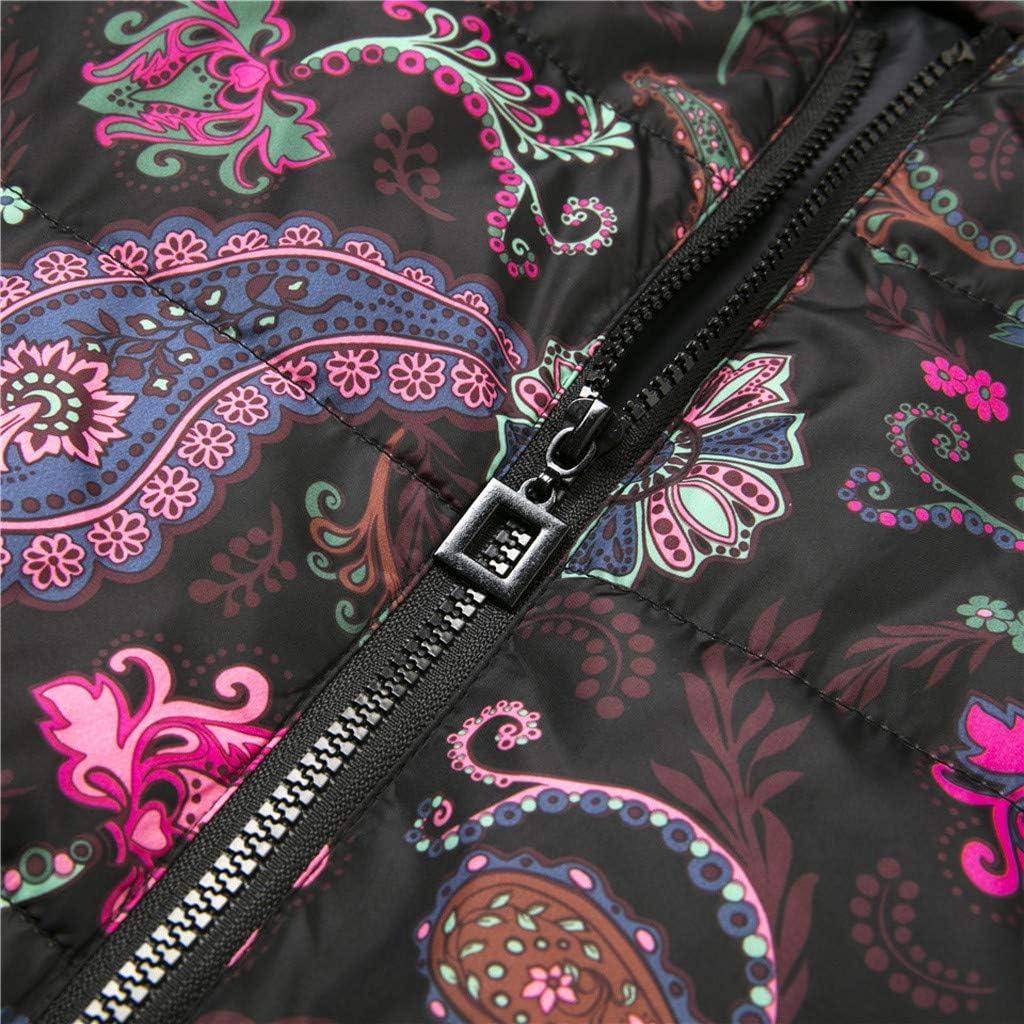 Yowablo Damen Jacke lang Winterjacke Parka Mantel Winter Druck Lange Daunen Baumwolle Kapuzenmantel Steppjacke Outwear 2- Rosa