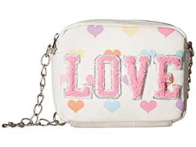 OMG! Accessories Heart Print Love Crossbody (White) Cross Body Handbags