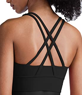 Lavento Strappy Sports Bras for Women Longline Padded Medium Support Yoga Training Bra Top