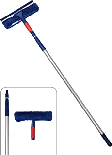 4-10 Foot Window Cleaner Rubber Squeegee and Microfiber Washing Scrubber | 2-in-1 Window Cleaning Tool Kit with Extension Pole| for Indoor Outdoor Multi-Surface Home and Commercial Business Use