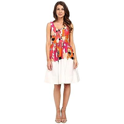 Calvin Klein Printed Fit and Flare Dress CD6G2R6K (White/Watermelon Multi) Women