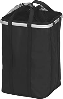 Household Essentials Collapsible Krush Laundry Hamper with Mesh Top and Aluminum Rim, Black