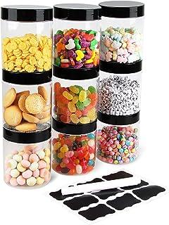 Bocaux en Plastique 9 Pcs, Bocal de Stockage, Réservoir de stockage en plastique pour aliments secs et slime, sans BPA, Ré...