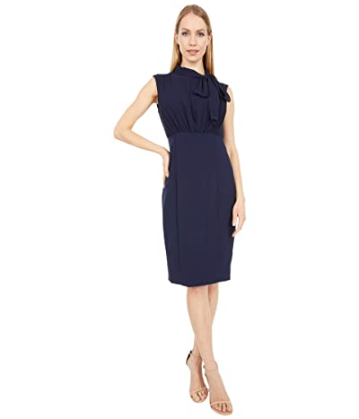 Vince Camuto Chiffon and Kors Crepe Bodycon Twofer Dress (Navy) Women