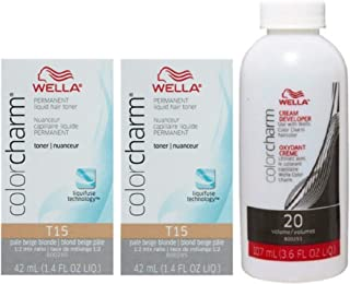Wella Color Charm Toner T15 1.4 oz (2 Pack) + Cream Developer 20 Volume 3.6 oz