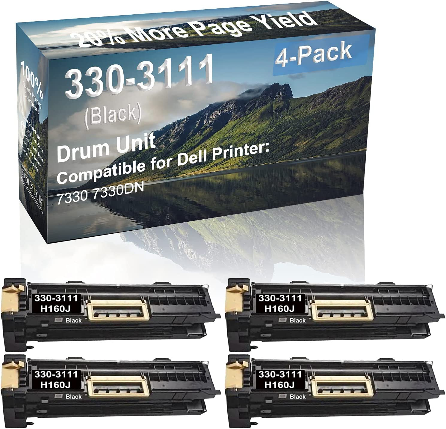4-Pack (Black) Compatible 7330 7330DN Printer Drum Unit Replacement for Dell 330-3111 H160J Drum Kit