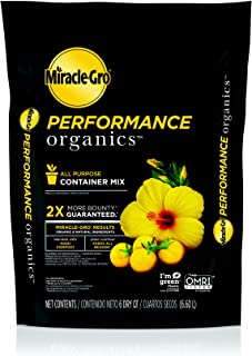 Miracle-Gro Performance Organics All Purpose Container Mix, 6 qt. - Organic, All Natural Plant Soil - Feed for up to 3 Months - All-Purpose Formula for Vegetables, Flowers and Herbs