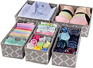 Homyfort Cloth Dresser Drawer Organizers,Foldable Closet Storage Bins Cubes Dividers for Clothes,Underwear,Lingerie,Bras,Ties,Socks Set of 6 Coffee with White Lantern Printing