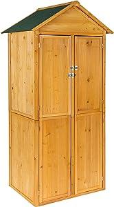 tectake 402210 Armoire de Jardin Remise pour Outils abri d'atelier en Bois avec Toit en Pente | env. 80,5 x 60 x 213,5 cm