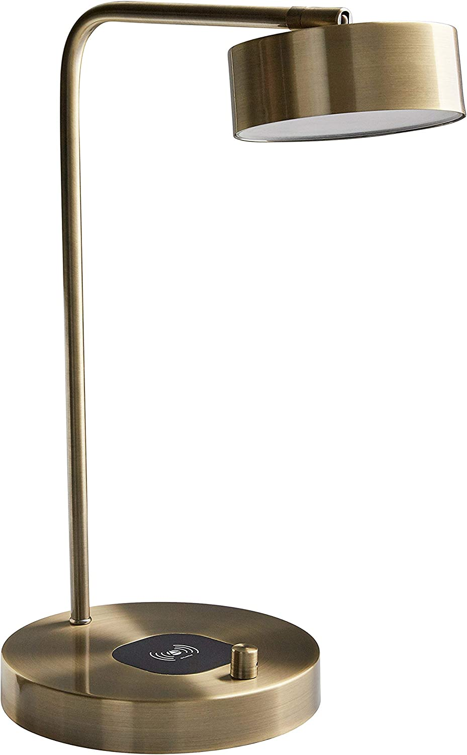 Stone & Beam Modern  Task Lamp, 18.5 H, Antique Brass with Wireless Charging