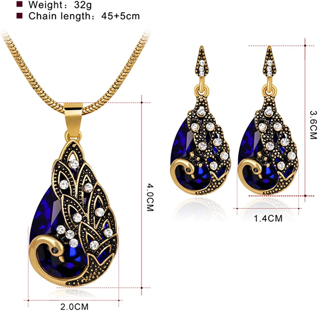 Yilanair Peacock Costume Accessories for Women Gold Jewelry Sets Rhinestone Jewel Necklace with Earrings