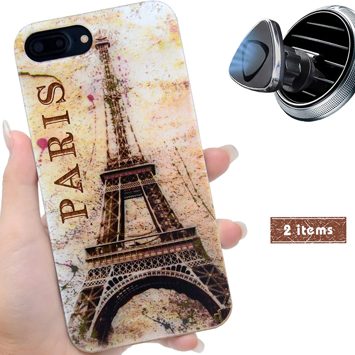 iProductsUS Wood Phone Case Compatible with iPhone 8,7,6/6S (Regular Size) and Magnetic Mount-UV Print Colorful Eiffel Tower Wooden Cases,Built-in Metal Plate,TPU Rubber Protective Covers (4.7