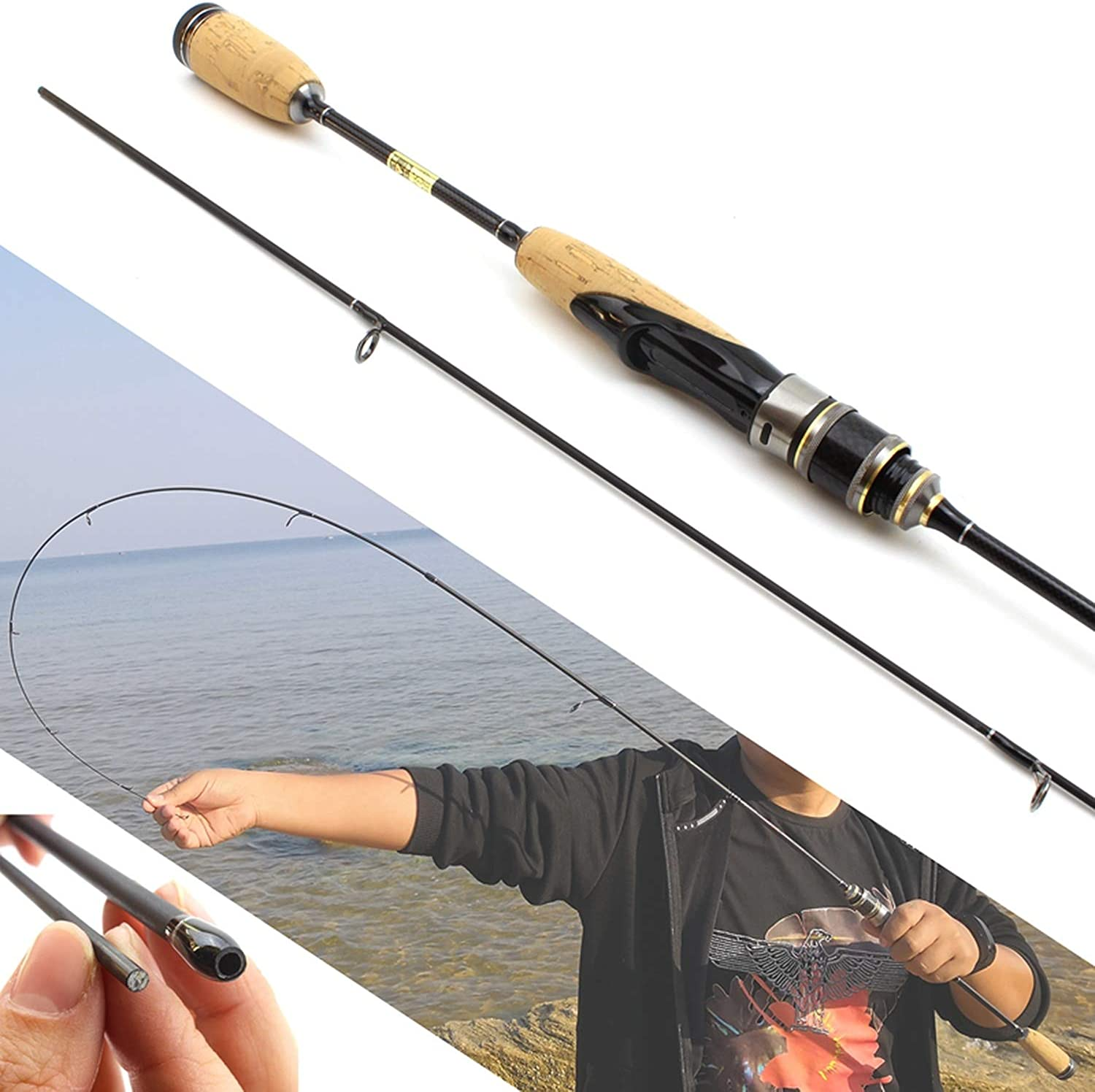 1.8M Wooden Handle Lure Rod Ultra Light Spinning Fishing Rod 26G Lure Weight 37Lb Line Weigh Carbon Rod Ul Power