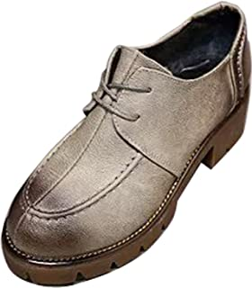 Gaorui Women's Casual Lace Up Scool Office Oxford Loafers Shoes Pumps Wing Tip Platform