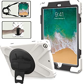 iPad 9.7 Case 2017/2018 for Kids, TSQ 3 Layers Hybrid Drop Protection Silicon Rugged Protective Case with 360 Degree Rotating Stand/Hand Strap&Shoulder Strap for Model A1893/A1954/A1822/A1823,White