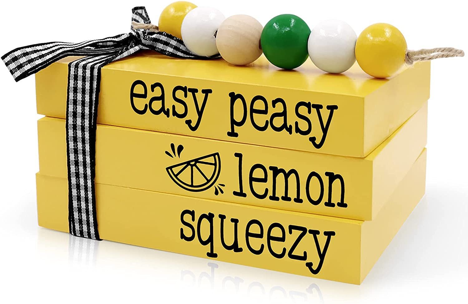 Huray Rayho Lemon Wooden Decorative Books Stack Easy Peasy Lemon Squeezy Tiered Tray Block Lemonade Summer Buffalo Plaid Farmhouse Faux 3D Book Stand Rustic Kitchen Home Decor Signs