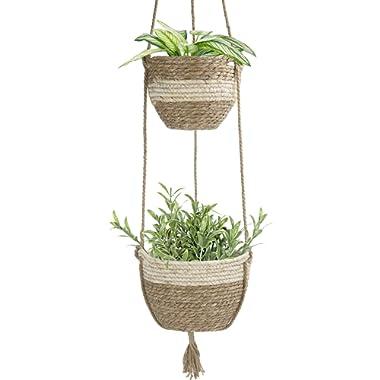LA JOLIE MUSE Hanging Planter Basket Indoor Outdoor,Natural Seagrass Flower Plant Pots, Beige