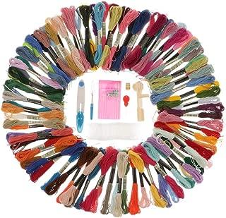 Baoblaze Embroidery Kit 100 Colors Thread Bracelets Floss Rainbow Color Embroidery Floss Cross Stitch Thread with Floss Bobbins Scissor, Thimble and Needles