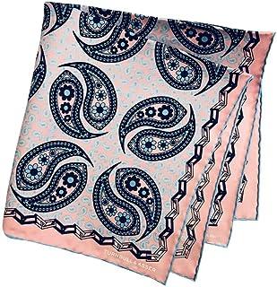 ターンブル&アッサー Turnbll&Asser ポケットチーフ シルクチーフ メンズ 紳士 Silk 英国製 大判 Pink/Paisleyピンクペイズリー C097
