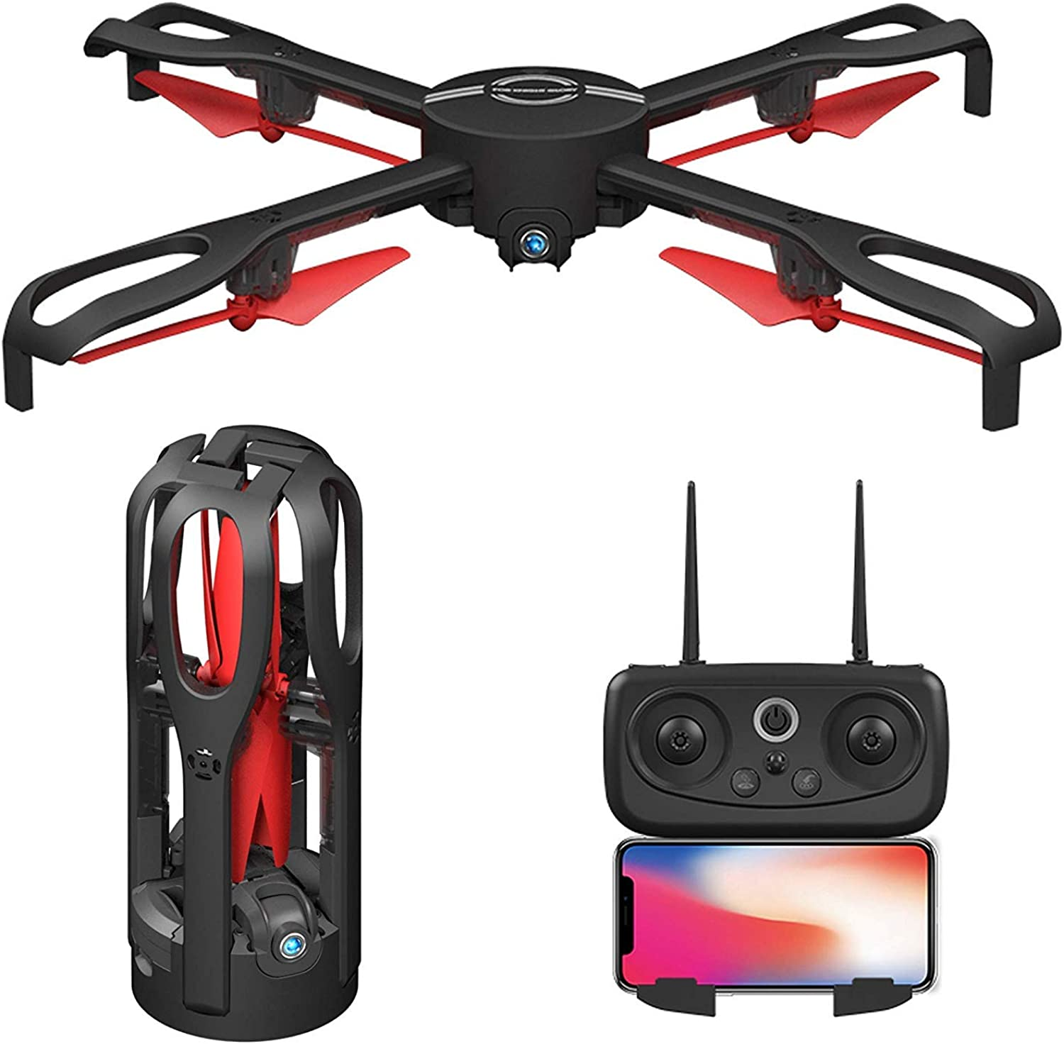 Remote Control Foldable GPS Drones with 1080P 5MP HD Camera 5G FPV Live Video Mobile APP Control RC Quadcopter Helicopter Aircraft - Return Home Altitude Hold Follow Me Electric Fence