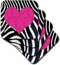 3dRose Janna Salak Designs Punk Rockabilly Zebra Animal Stripe Pink Heart Pri Coaster, Soft, Set of 4