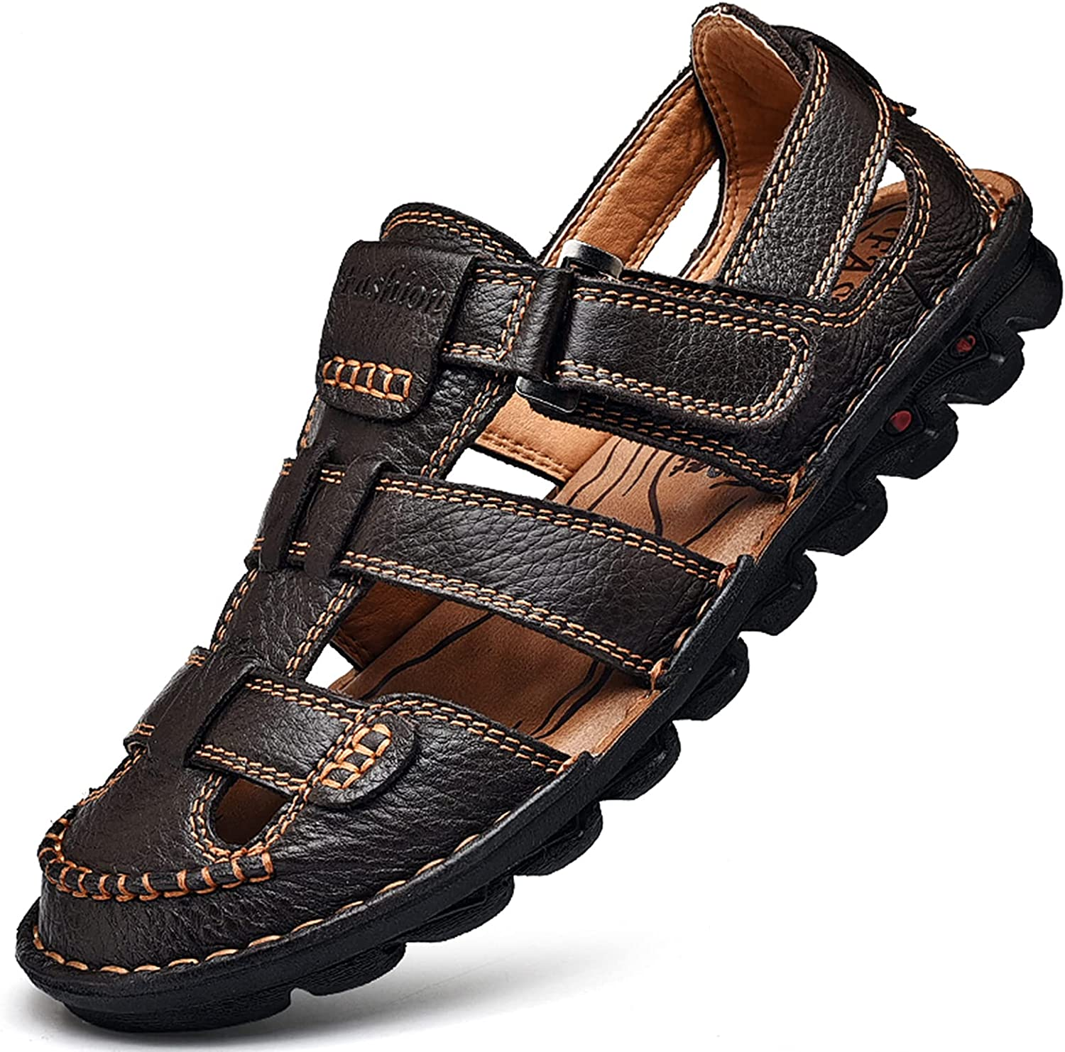 JIONS Mens Ranking TOP6 Easy-to-use Closed Toe Leather Men's Summer Sandals Fish Outdoor