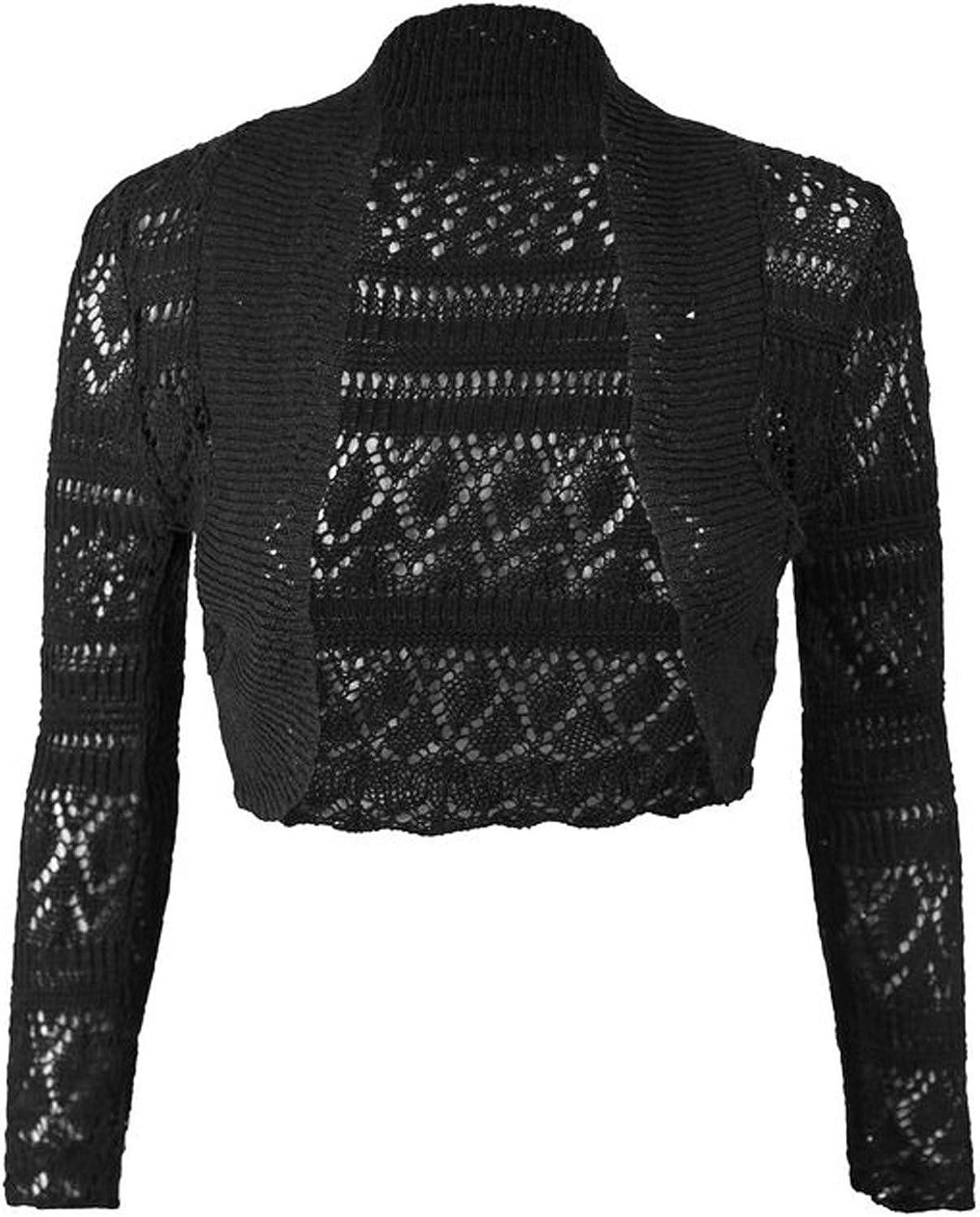 FashionMark Womens Shrug Bolero Knitted Crochet Cropped Open Shrug Top