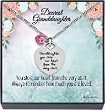 Granddaughter Jewelry Necklace Gifts - ''Granddaughter You Stole Our Heart'' Keepsake Heart Necklace