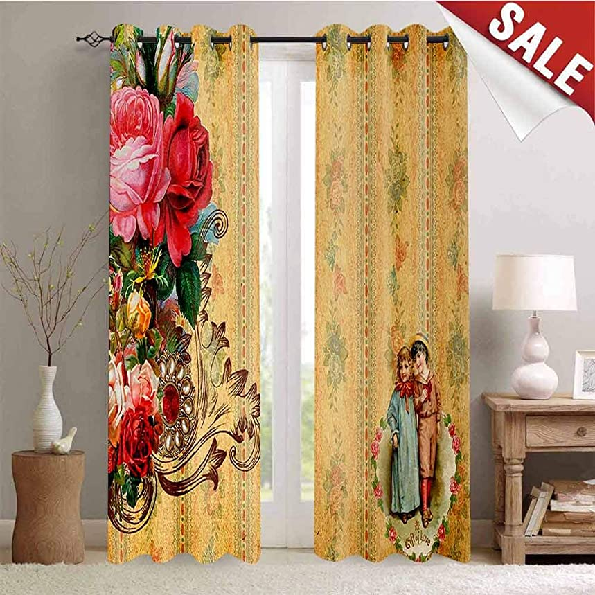 Hengshu Vintage Window Curtain Fabric Country House Themed Romantic Image with Retro Romantic Roses Drapes for Living Room W84 x L96 Inch Sanbrown Light Pink and Hot Pink