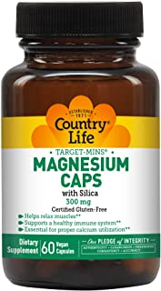 Country Life Target-Mins Magnesium with Silica 300 mg - 60 Vegetarian Capsules - May Help Support Immune Health and Muscle...