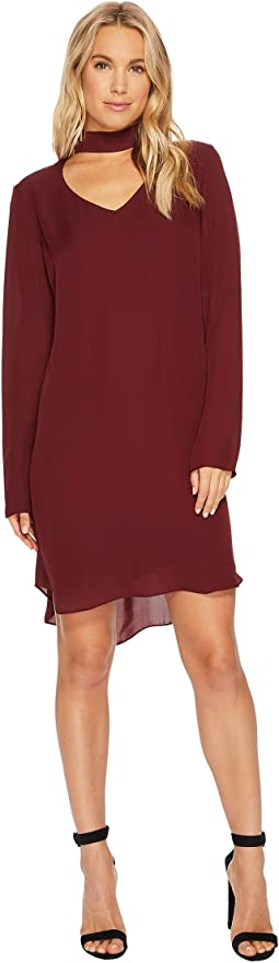 Sloan Silk Peekaboo Neck Long Sleeve Mod Dress