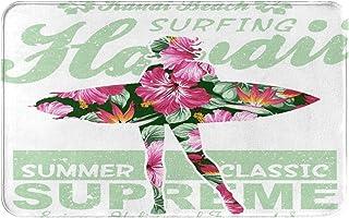 YMWEI Tapis de Sol d'entrée, paillassons,Tropical Hawaii Hibiscus Surfing Girl Silhoue,Extérieur,Cuisine,Chambre,Tapis de ...