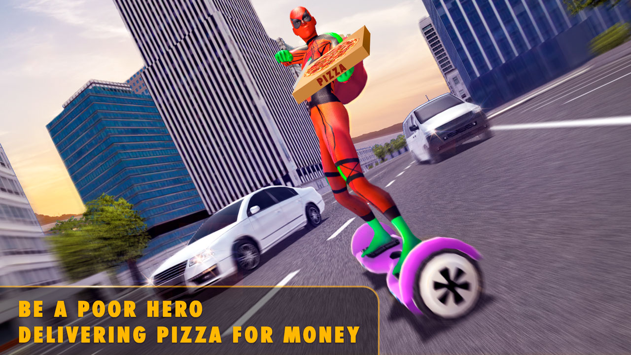Spider Hero Pizza Delivery Game: Fidget Spinner Hoverboard Racing