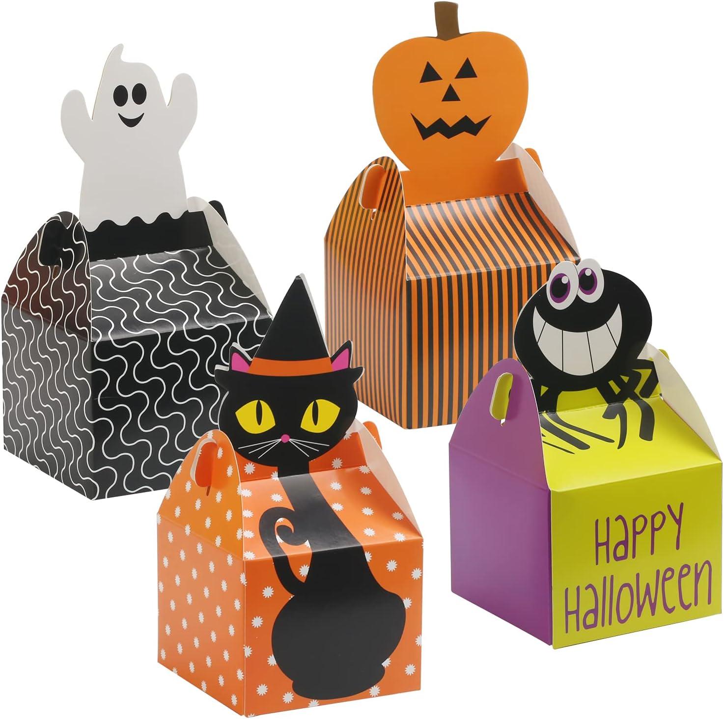 WEDNOK 24 Cajas de Galletas de Dulces de Halloween, Caja de Dulces de Halloween, Cajas de Regalo de Papel de Halloween, Dulces de Chocolate, Dulces, Regalo de Fiesta de Halloween para Niños