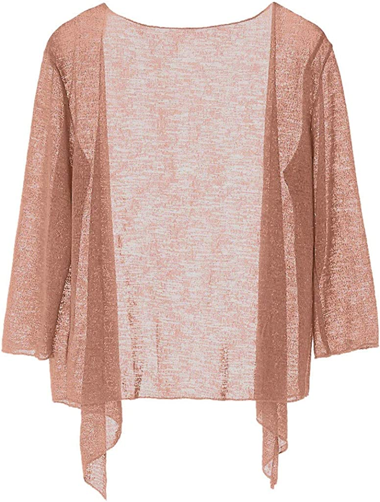 Women Shrugs Shirt Casual Lace Crochet Cardigan Blouse 3/4 Sleeve Shawl Coat Lightweight Open Front Cardigans Outerwear