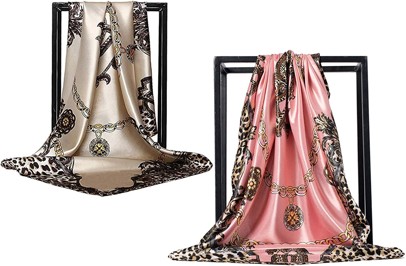 ZDMHSH Silk Like Scarf Women's Fashion Pattern Large Square Satin Headscarf
