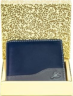 Hornbull Buttler Men's Genuine Leather RFID Blocking Wallet (Navy-GLD114)