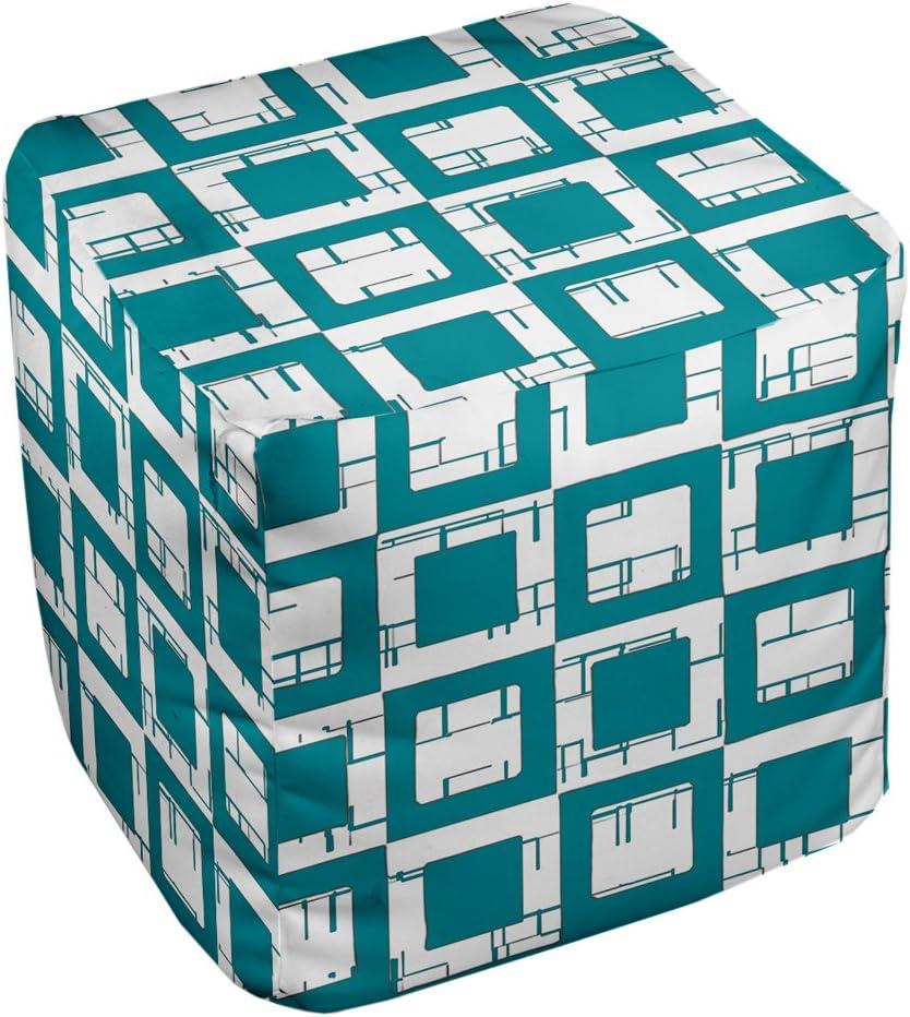 E by design FG-N2-Lake_Blue-18 Geometric Pouf