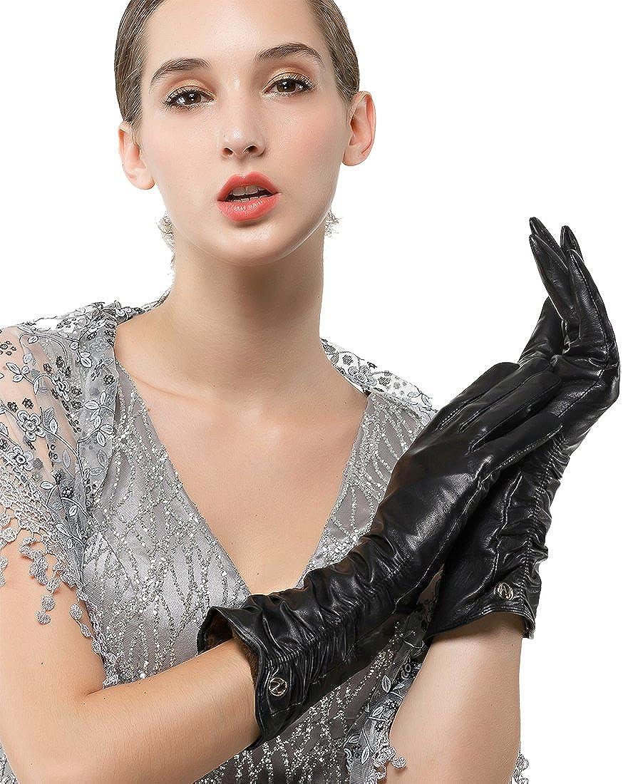 Women's Italian Lambskin Leather Glove Winter Warm Long Fleece Lining Gloves