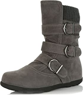 DailyShoes Women`s Winter Snow Boots Buckles Warm Cozy Ankle Mid Calf Slouch