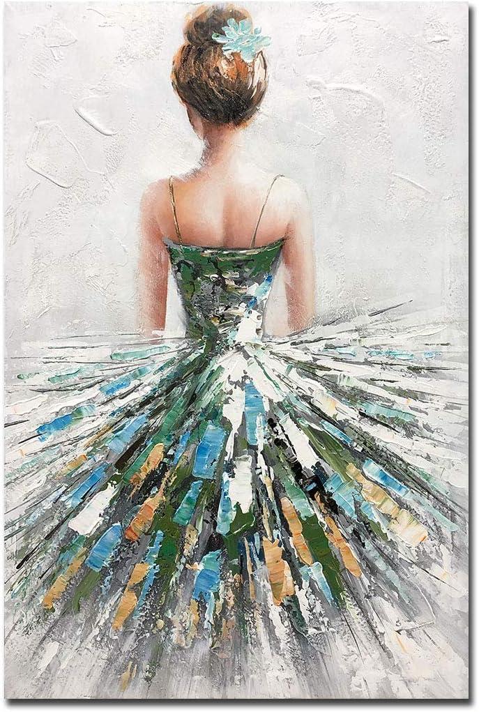 Boiee Art Overseas parallel import regular item 24x36Inch 100% Hand Girl O Max 46% OFF Painted Ballerina Beautiful