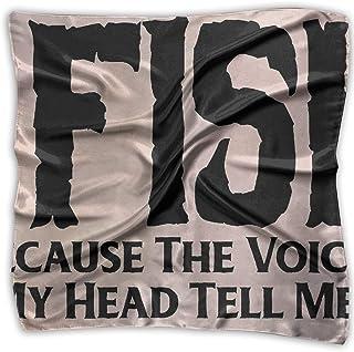 Bikofhd I Fish Because The Voices Women's Large Square Satin Headscarf Silk Like Neck Bandana