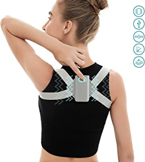 WinPosture Intelligent Posture Corrector Back Support Brace for Women and Men - Premium Quality Breathable and Soft Polyester, PC, PP Posture Trainer (Grey, M(Weight: 40-60KG))
