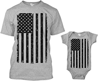 Distressed Black American Flag Matching Bodysuit & Men's T-Shirt