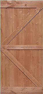 LUBANN 40 in. x 84 in. Rustic British-Brace Hardwood Barn Door Unfinished Knotty Alder Solid Wood Barn Door Slab