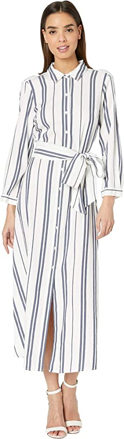 Long Sleeve Valiant Stripe Tie Front Shirtdress