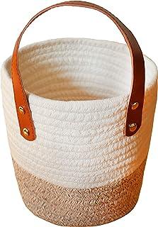 Panier de rangement de pot de fleurs tissé en corde de coton QLZWNL, panier de rangement rond, boîte de rangement pour vêt...